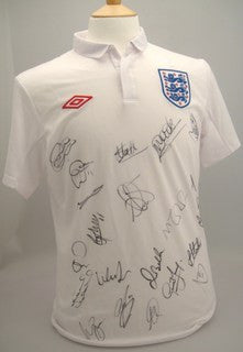 England Football Team Autographed Home Jersey