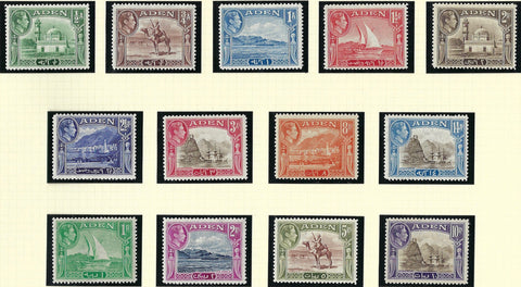 Aden 1939-48 ½a to 10r sepia and violet set of 13, SG16/27
