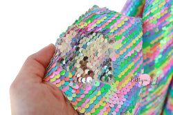 FULL YARD of Neon Pastel Rainbow/Silver Reversible Sequin Fabric