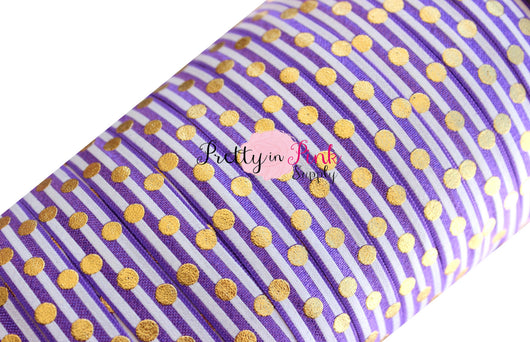 Purple and White Stripe Gold Metallic Dot Print - Pretty in Pink Supply