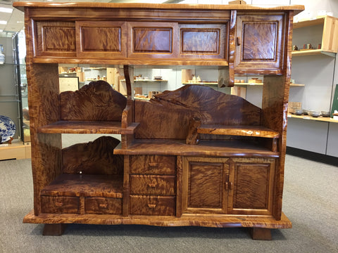Antique horse chestnut burl wood open display and storage cabinet - TLS Living