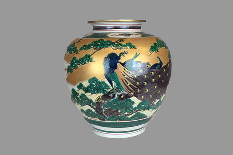 Antique Japanese peacock vase - TLS Living