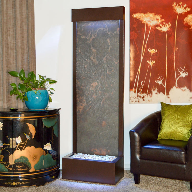 6' Gardenfall Slate Tech and Dark Copper Floor Fountain with LED Lights - SoothingWalls