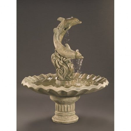 Dolphins with Shell Bowl Outdoor Fountain - Soothing Walls