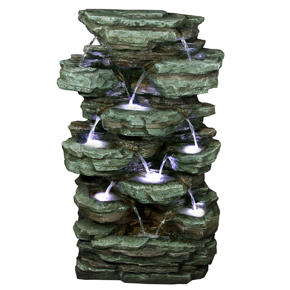 Tiered Rock Rainforest Fountain With White LED Lights - Soothing Walls