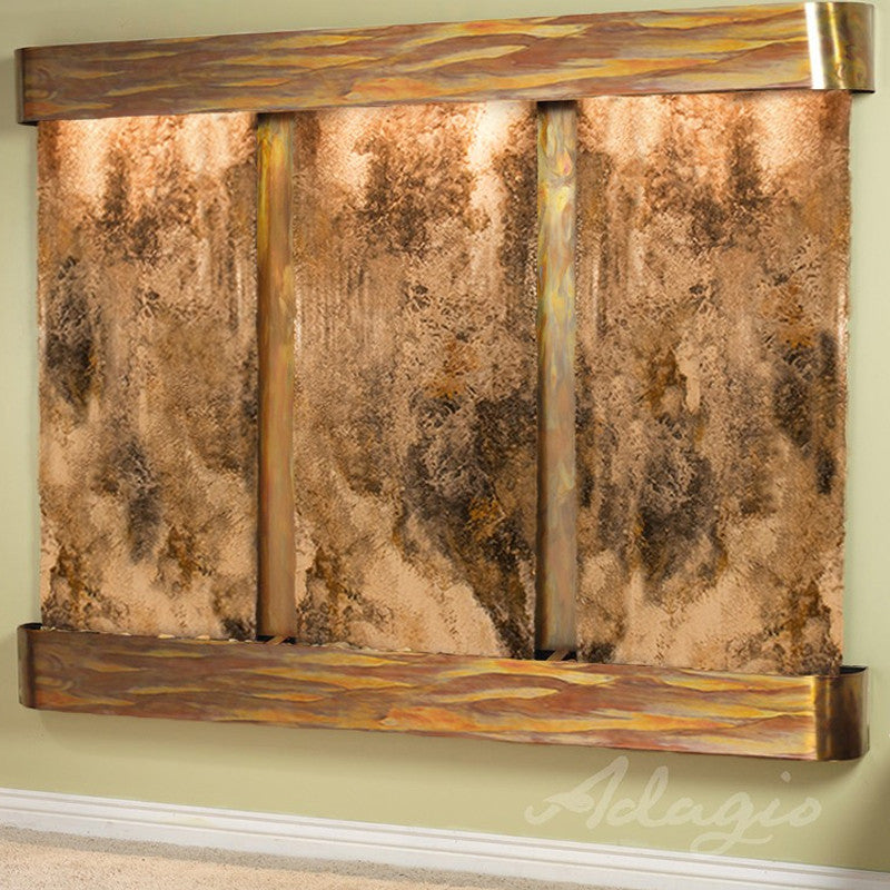 Deep Creek Falls: Magnifico Travertine and Rustic Copper Trim with Rounded Corners
