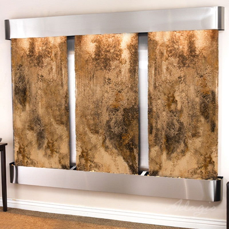 Deep Creek Falls: Magnifico Travertine and Stainless Steel Trim with Rounded Corners