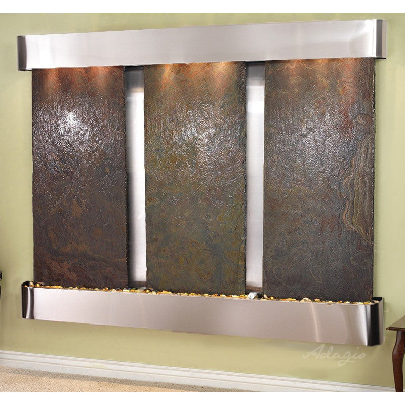 Deep Creek Falls: Multi-Color Slate and Stainless Steel Trim with Rounded Corners