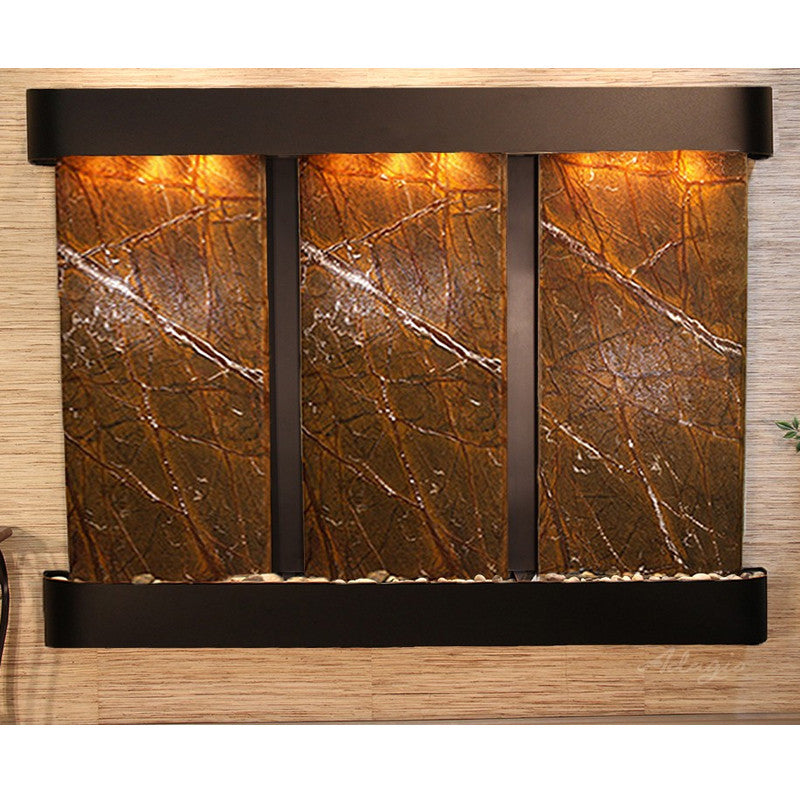 Deep Creek Falls: Rainforest Brown Marble and Blackened Copper Trim with Round Corners
