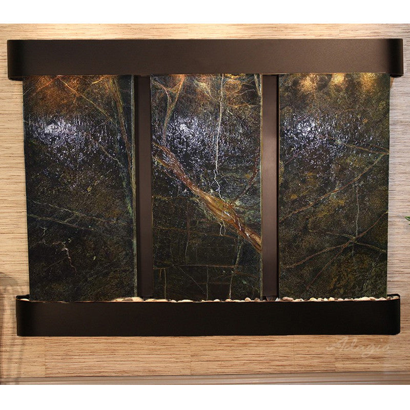 Deep Creek Falls: Rainforest Green Marble and Blackened Copper Trim and Rounded Corners
