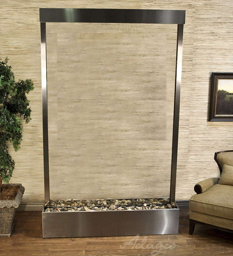Grandeur River - Clear Glass - Stainless Steel - Soothing Walls