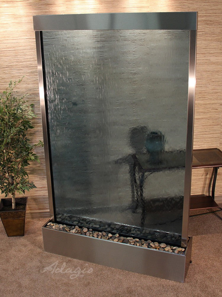 Grandeur River (Centered In Base) - Blue Glass - Stainless Steel - Soothing Walls