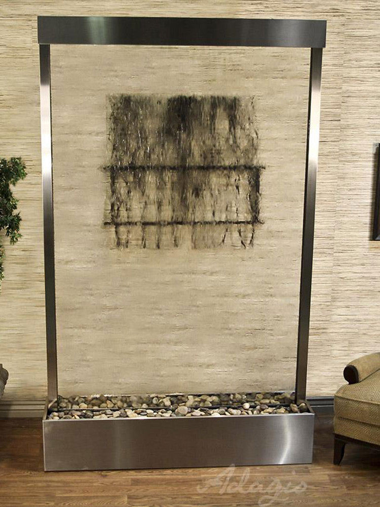 Grandeur River (Centered In Base) - Clear Glass - Stainless Steel - Soothing Walls