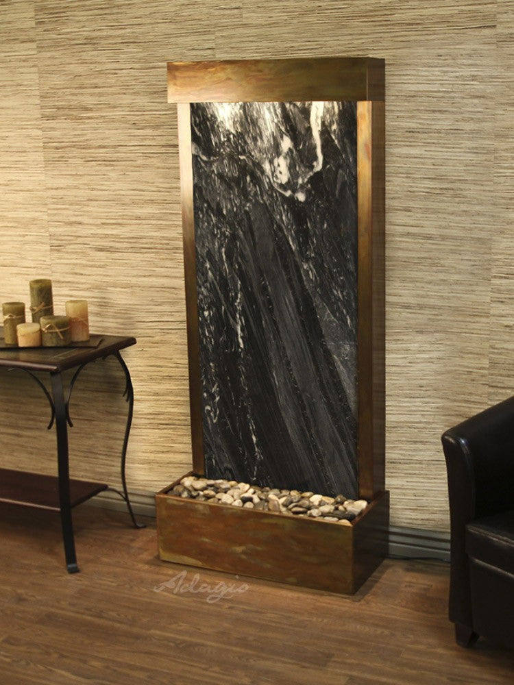 Harmony River (Flush Mounted Towards Rear Of The Base) - Black Spider Marble - Rustic Copper - Soothing Walls