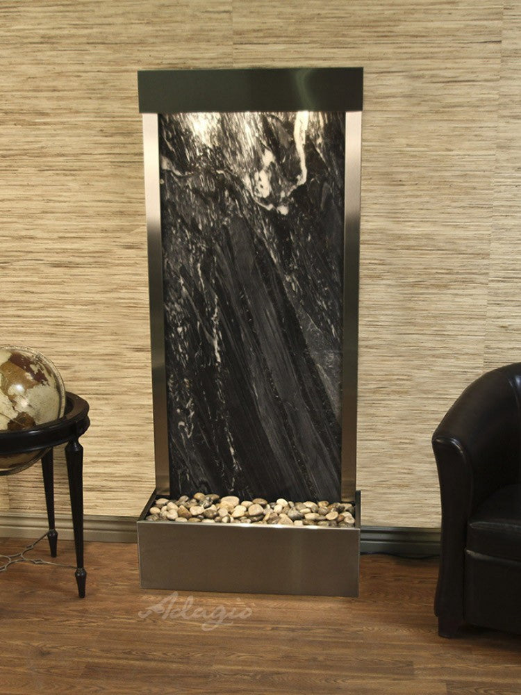 Harmony River (Flush Mounted Towards Rear Of The Base) - Black Spider Marble - Stainless Steel - Soothing Walls