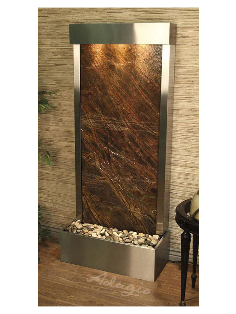 Harmony River (Flush Mounted Towards Rear Of The Base) - Rainforest Brown Marble - Stainless Steel - Soothing Walls