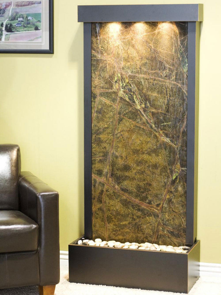Harmony River (Flush Mounted Towards Rear Of The Base) - Rainforest Green Marble - Blackened Copper - Soothing Walls