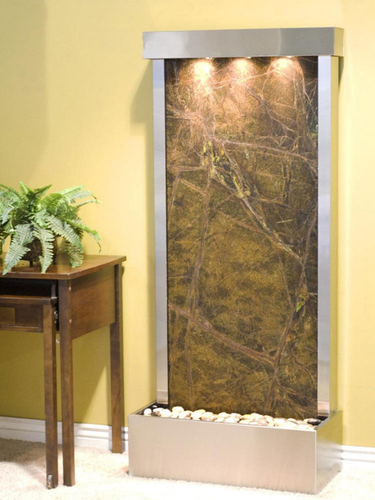 Harmony River (Flush Mounted Towards Rear Of The Base) - Rainforest Green Marble - Stainless Steel - Soothing Walls