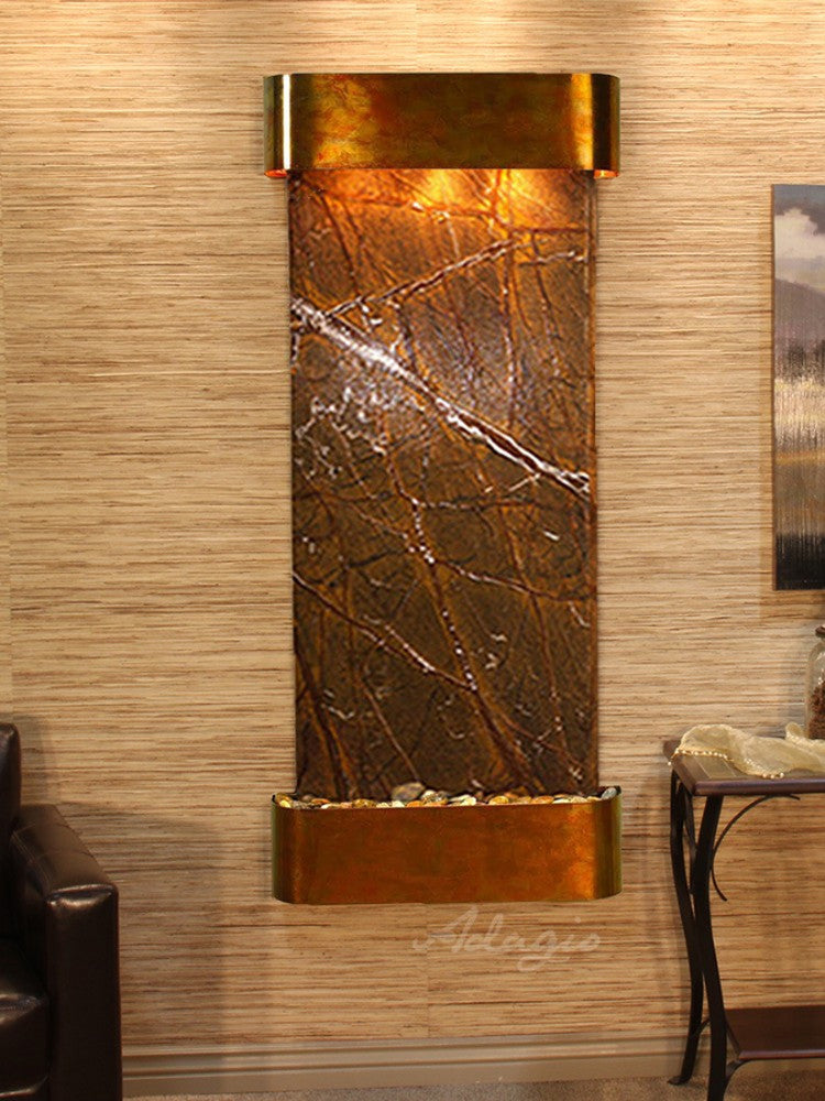 Inspiration Falls: Rainforest Brown Marble and Rustic Copper Trim with Rounded Corners