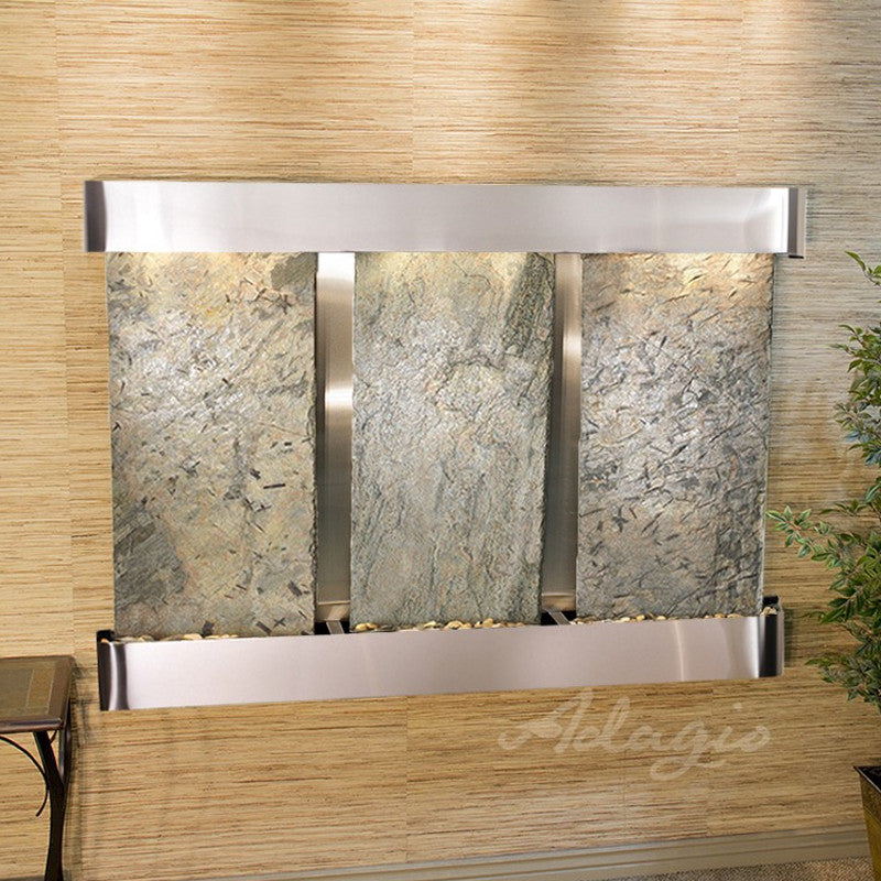 Olympus Falls: Green Slate and Stainless Steel Trim with Rounded Corners