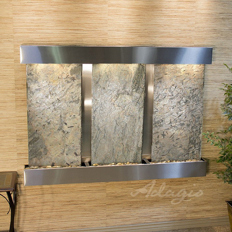 Olympus Falls: Green Slate and Stainless Steel Trim with Squared Corners