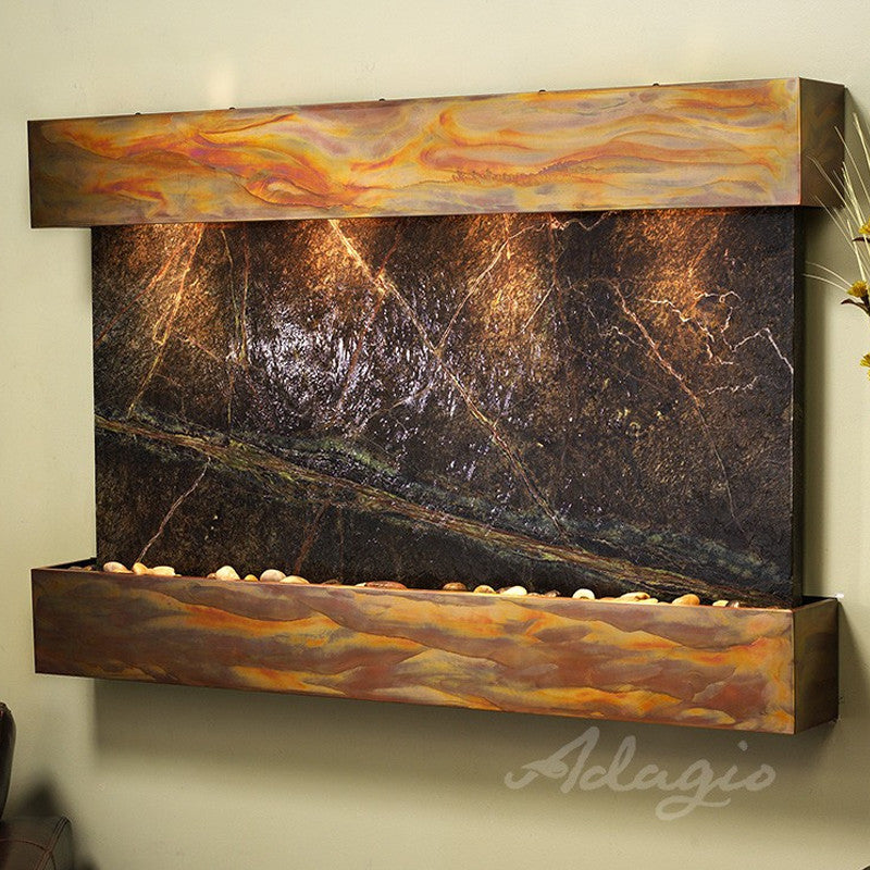 Sunrise Springs - Rainforest Green Marble - Rustic Copper - Squared Corners - Soothing Walls