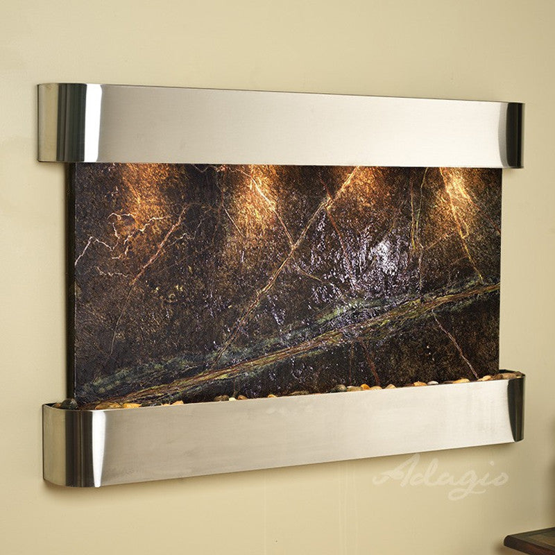 Sunrise Springs: Rainforest Green Marble and Stainless Steel Trim with Rounded Corners