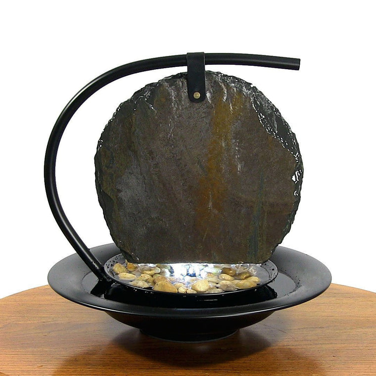 Zen Moonshadow Slate Tabletop Water Fountain - Soothing Walls