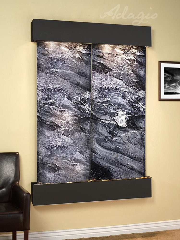 Majestic River: Black Spider Marble and Blackened Copper Trim with Squared Corners