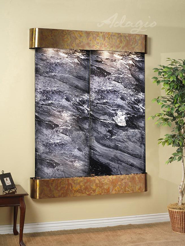 Majestic River: Black Spider Marble and Rustic Copper Trim with Rounded Corners