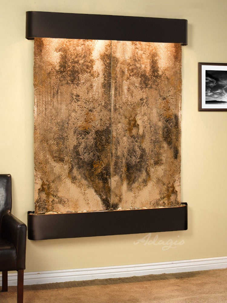 Majestic River: Magnifico Travertine and Blackened Copper Trim with Rounded Corners