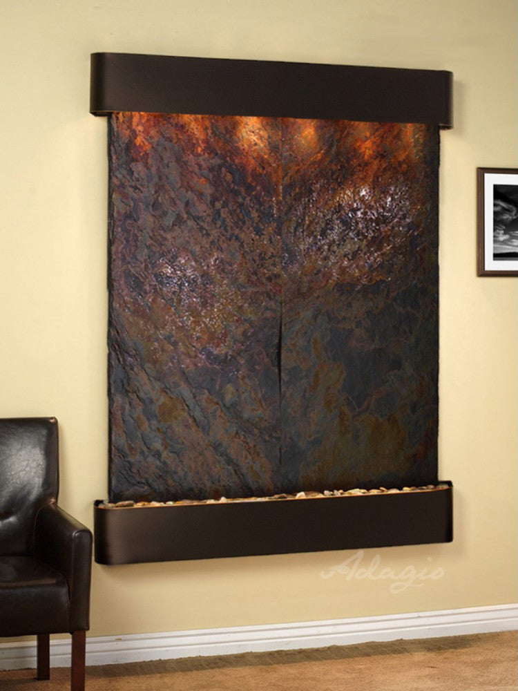 Majestic River: Multi-Color Slate and Blackened Copper Trim with Rounded Corners