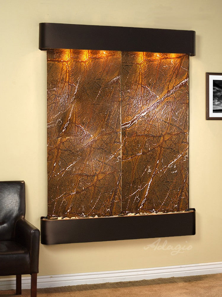 Majestic River: Rainforest Brown Marble and Blackened Copper Trim with Rounded Corners