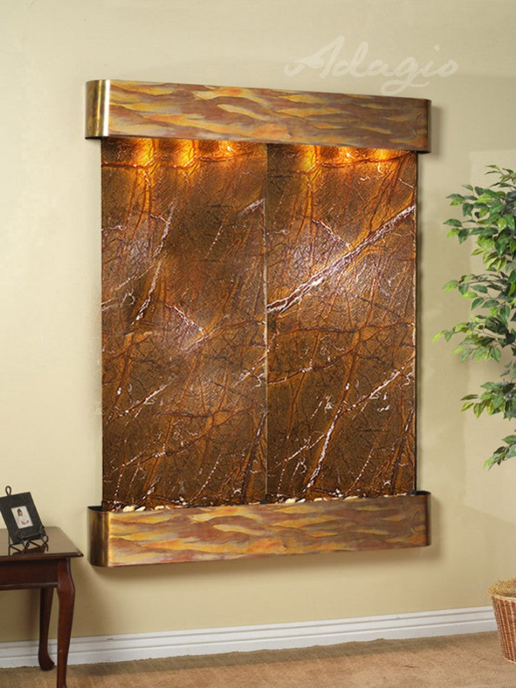 Majestic River: Rainforest Brown Marble and Rustic Copper Trim with Rounded Corners