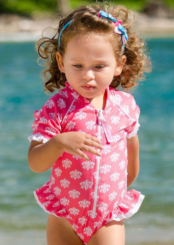 Sun Emporium</br>Baby Girls Frill Suit ss - Damask Print