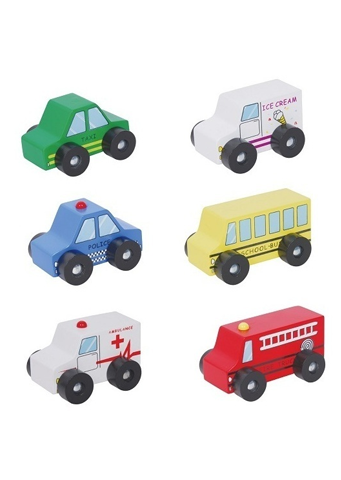 Discoveroo</br>Six Piece Wooden Car Playset