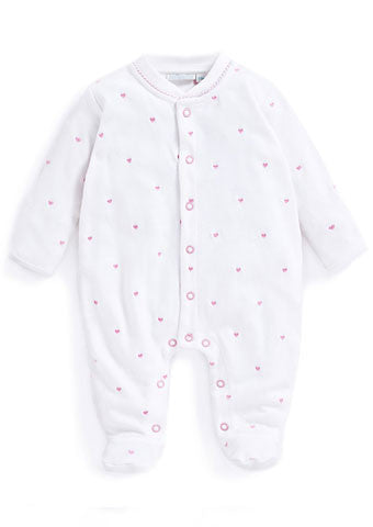 JoJo Maman Bebe </br>Baby Sleepsuit | Pink Heart Embroidered
