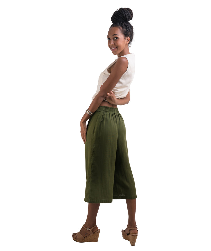 Women's Organic Cotton Gaucho Pants - Army Green
