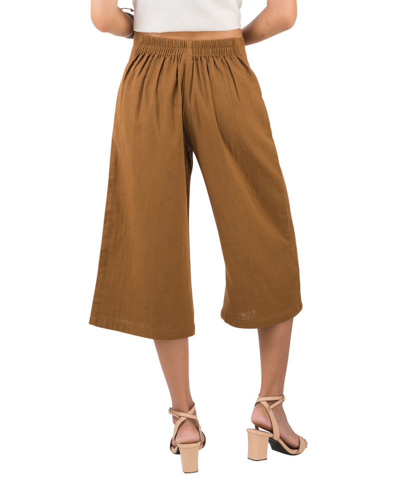Women's Organic Cotton Gaucho Pants - Khaki
