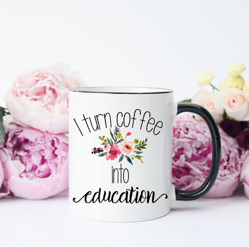 coffee into education mug