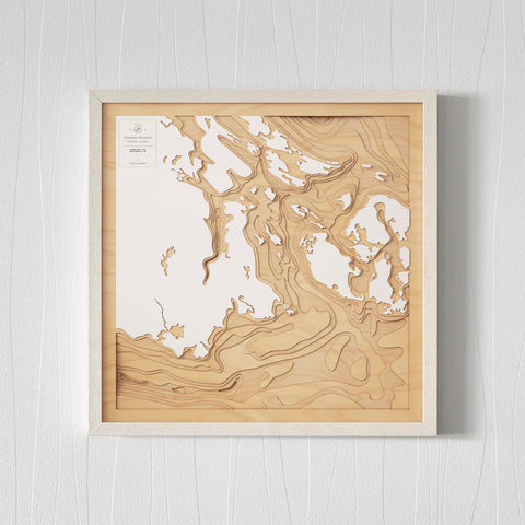 3D Wooden Contour Map of Victoria BC