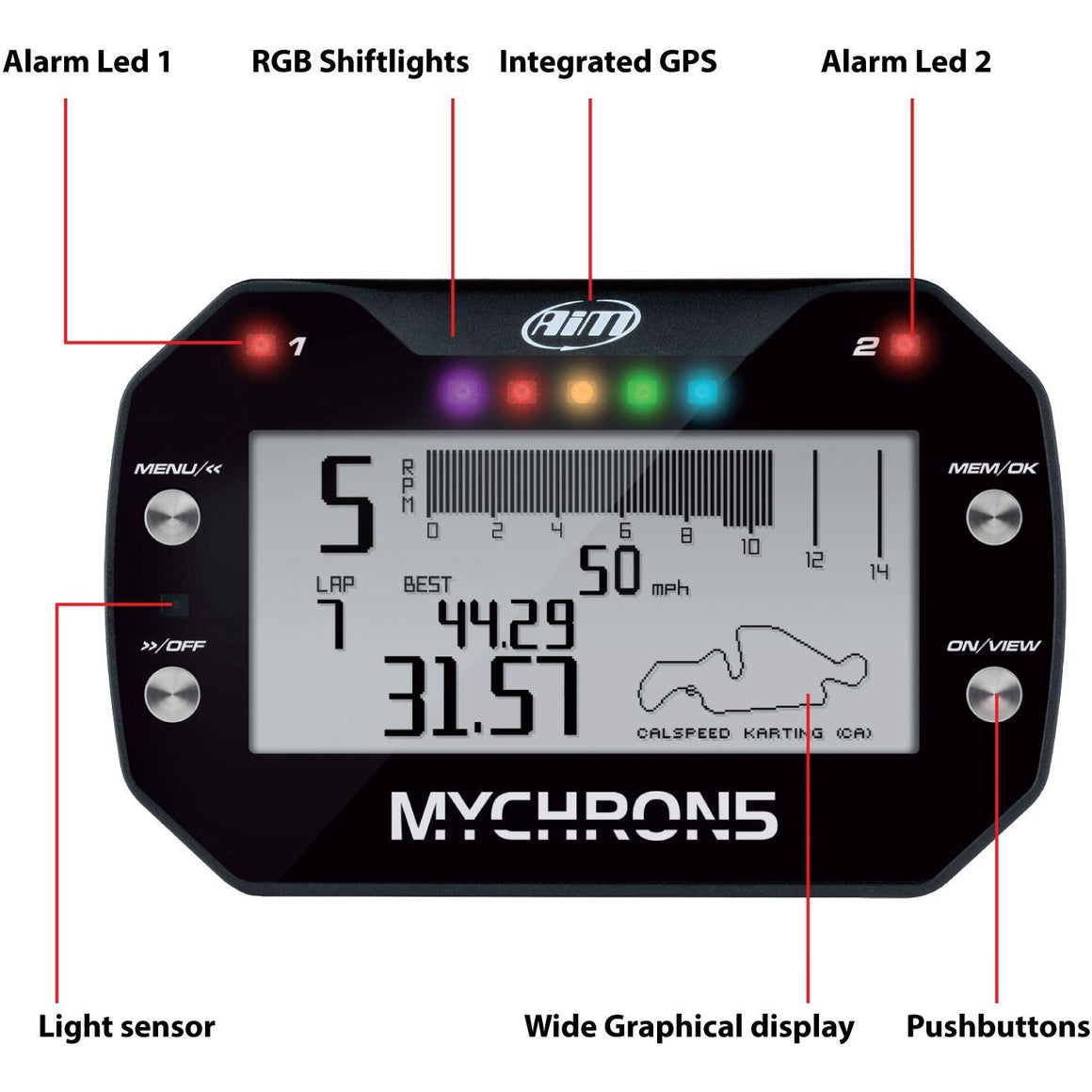 AiM MyChron 5 2T Kart Racing Data Logger Front View