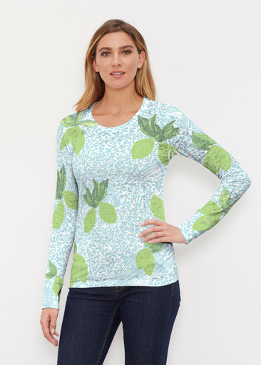 Limes Aqua (10179) ~ Thermal Long Sleeve Crew Shirt