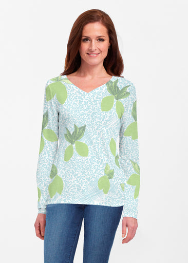 Limes Aqua (10179) ~ Classic V-neck Long Sleeve Top