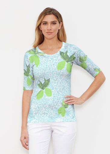 Limes Aqua (10179) ~ Elbow Sleeve Crew Shirt