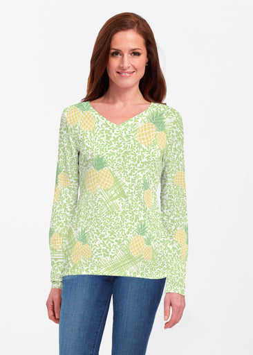 Pineapple Lime (10180) ~ Classic V-neck Long Sleeve Top