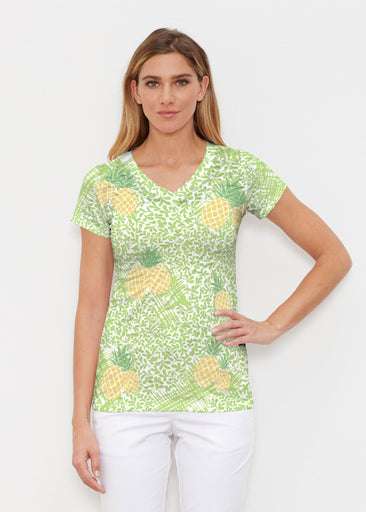 Pineapple Lime (10180) ~ Signature Cap Sleeve V-Neck Shirt