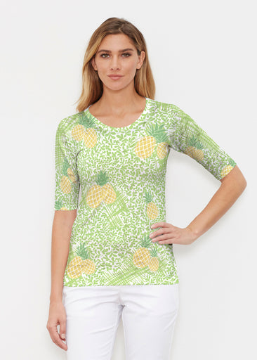 Pineapple Lime (10180) ~ Elbow Sleeve Crew Shirt