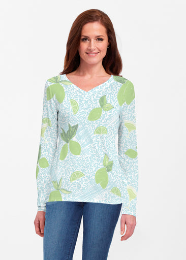 Margarita Lime (10181) ~ Classic V-neck Long Sleeve Top