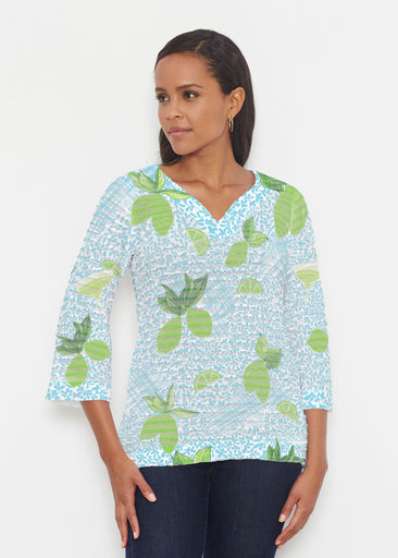 Margarita Lime (10181) ~ Banded 3/4 Bell-Sleeve V-Neck Tunic